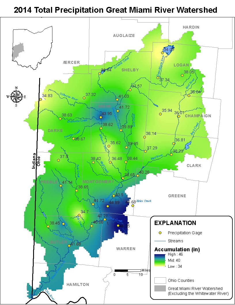 2014 Great Miami River Watershed Precipitation Totals